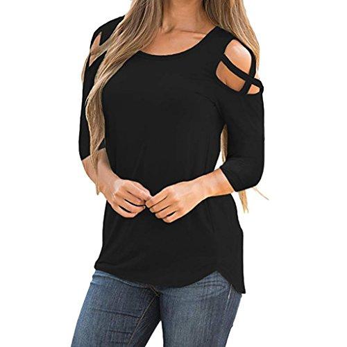 T-Shirts for Women Autumn Long Sleeve Tops Casual Off Shoulder Blouse Work Shirt chaofanjiancai (M, Black)