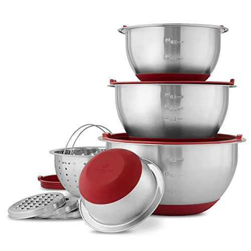 Wolfgang Puck Stainless-Steel Mixing Bowls with Lids, XL 12-Piece Set, Red