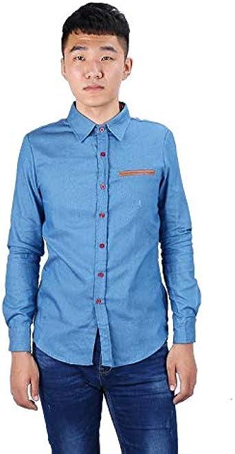 Casual estilo de moda para hombres Otoño Manga larga Camisa con cuello caído Camisas de mezclilla Estilo de algodón de estilo Hombre Jeans Tops de camisa - Azul claro - L: Amazon.es: