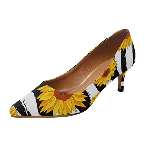 - INTERESTPRINT Women's Low Kitten Heel Party Dress Pump Shoes Sunflowers on Striped Black and White US10