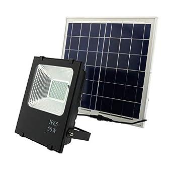 Foco LED Solar Exterior 50W Negro 3000LM IP66 Impermeable Luz Blanca 6000K Ángulo 120º Con Placa Solar y Mando Remote Jardín Patio Terraza Camping: ...