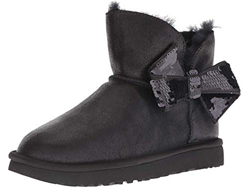 UGG Women's W Mini Sequin Bow Fashion Boot, Black, 9 M US ()