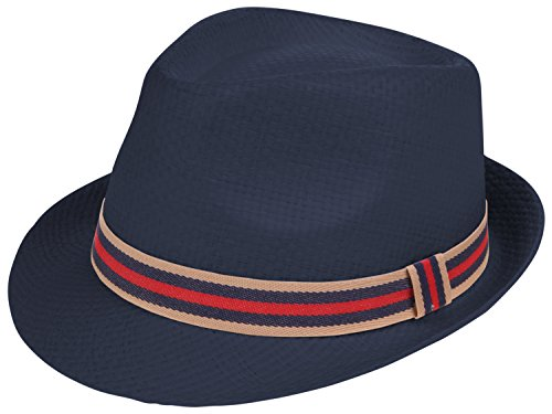 Enimay Classic Fedora Hat Gangster Cuban Summer Straw Trilby Navy Anchor -