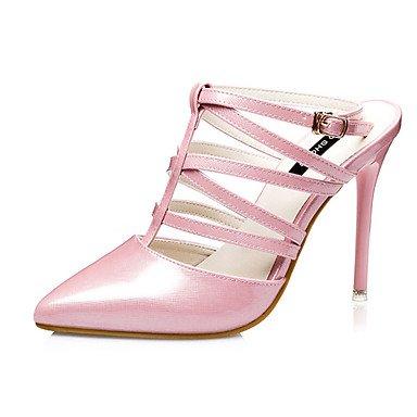La mujer Casual verano PU Stiletto talón Negro Plata rubor rosa fucsia Golden US5.5 / EU36 / UK3.5 / CN35