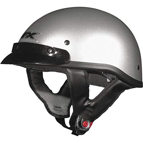(AFX FX-70 Solid Helmet , Size: Lg, Primary Color: Silver, Helmet Category: Street, Distinct Name: Black/Dark Silver Flame, Helmet Type: Half Helmets, Gender: Mens/Unisex 01030468)
