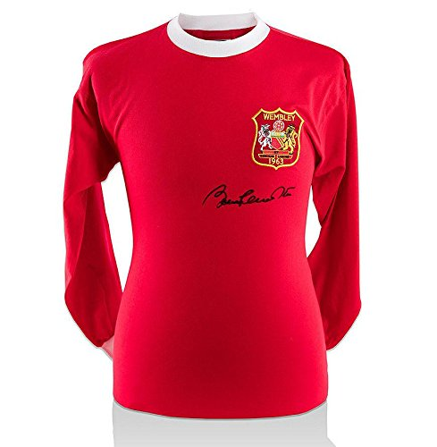 Sir Bobby Charlton Signed Manchester United Shirt - 1963 FA Cup - Black Signatur - Autographed Soccer Jerseys