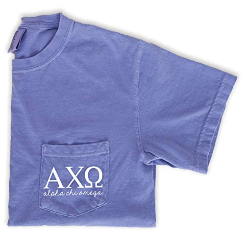 Alpha Chi Omega Script Letters Shirt | Sorority Comfort Colors Pocket Tee (Medium)