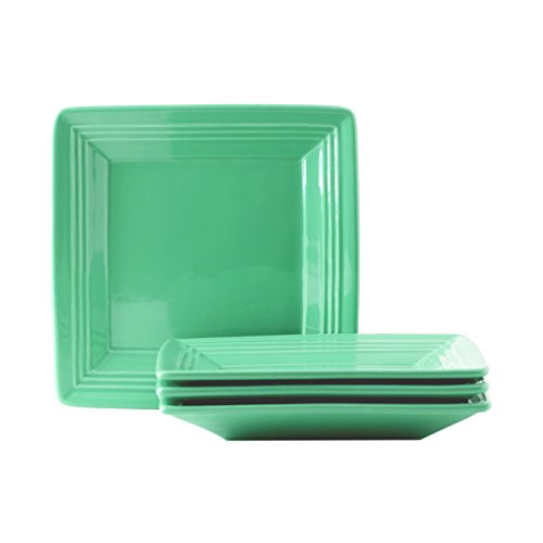 Bowl Square Green (Tuxton Home Concentrix Square Plate (Set of 4), 8 1/2, Cilantro Green; Heavy Duty; Chip Resistant; Lead and Cadmium Free; Freezer to Oven Safe up to 500F)