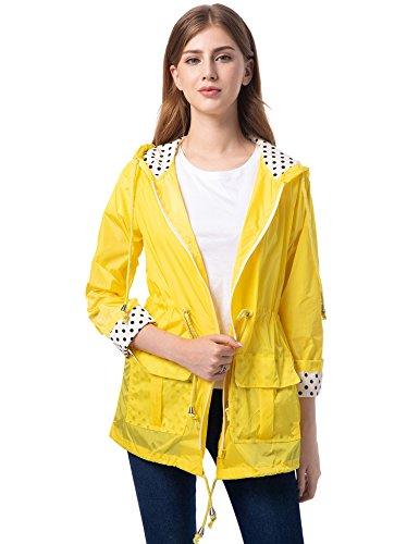 Romanstii Women's Waterproof Lightweight Jacket Lightweight Windbreaker Raincoat Ladies Outdoor Packable Coats Yellow Waterproof Jacket