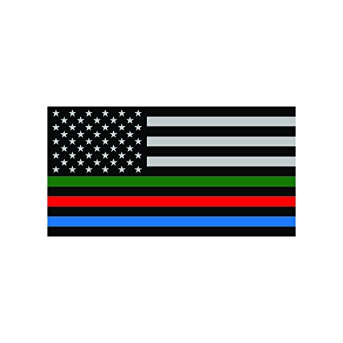 Thin Blue Line Sticker USA Flag with Red Blue Green Stripe Sticker Decal Self Adhesive FA Graphix -