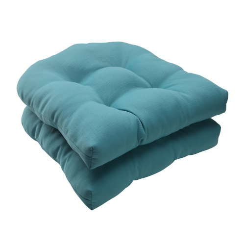 Cushion Only Set - Pillow Perfect Indoor/Outdoor Forsyth Wicker Seat Cushion, Turquoise, Set of 2