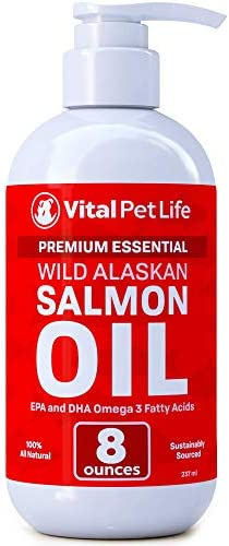 Salmon Oil for Dogs Cats, Fish Oil Omega 3 EPA DHA Liquid Food Supplement for Pets, Wild Alaskan 100 All Natural, Supports Healthy Skin Coat Joints, Natural Allergy Inflammation Defense, 8 oz