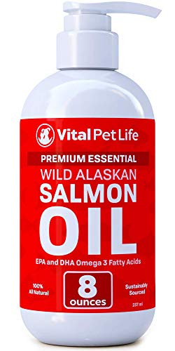 Salmon Oil for Dogs, Cats, and Horses, Fish Oil Omega 3 Food Supplement for Pets, Wild Alaskan 100% All Natural, Helps Dry Skin, Allergies, and Joints, Promotes Healthy Coat, Helps Inflammation, 8 oz (Best Dog Food For Shedding Problems)