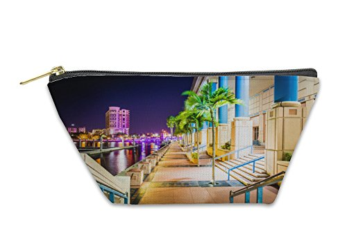 Gear New Accessory Zipper Pouch, The Convention Center And Riverwalk At Night In Tampa Florida, Small, - At Shops Riverwalk The