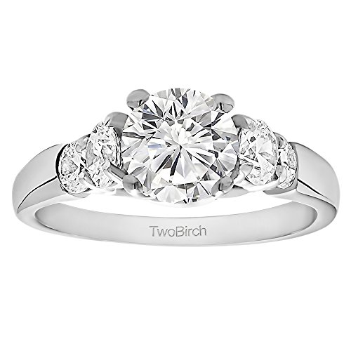 2.16 ct. Forever Brilliant Moissanite by Charles Colvard Cathedral Engagement Ring Bridal Set, with Matching Ring in Silver (2.16 ct. twt.)