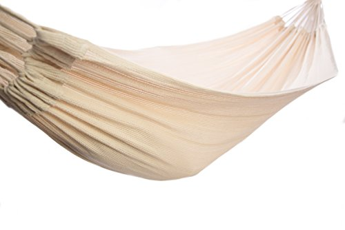 Soft Woven Cotton Hammock, Natural Color, King-Size Single, Portable, Lightweight, Comfortable Fabric For Outdoor, Backyard, Porch Or Indoor Use. - COMFORT AND DESIGN: Inspired by relaxation and natural design ideas, this hammock is beautifully crafted from 100% knitted cotton. It provides fantastic ventilation during the heat, great support for weary bodies and a super soft feeling on the skin. OUTDOOR OASIS: Create a piece of paradise in your own backyard with a touch of premium pampering and luxury. The natural hues of this hammock will blend perfectly with any outdoor décor. LIGHTWEIGHT AND PORTABLE: Conveniently packed with its own carry bag, you can take your hammock with you. Enjoy a restful outing either camping, hiking, by the lake, beach or park. Perfect to take on vacation or weekend getaways. - patio-furniture, patio, hammocks - 41Ka4ewYffL -