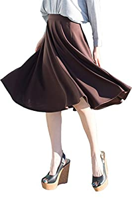 Jubilee Couture Womens Elastic Waist Midi Long A Line Flare Pleated Small Plus Size Skirt Made In USA