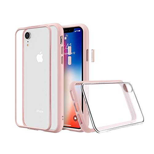 RhinoShield Modular Case for iPhone XR [Mod NX] | Customizable Shock Absorbent Heavy Duty Protective Cover - Compatible w/Wireless Charging & Lenses - Shockproof Blush Pink Bumper w/Clear - Pink Rim