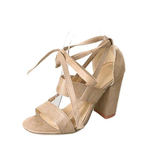 WINWINTOM Women's Sandals Ladies Ankle High Heels Block Party Open Toe Shoes Beige w1KUuRM