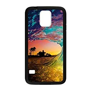 Canting_Good Colorful Beach Waves Custom Case Shell Skin for Samsung Galaxy S5 (Laser Technology)
