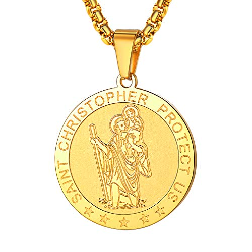 Gold Wrapped Pendant - FaithHeart Saint Christopher Necklace Stainless Steel Catholic Patron Saint Medal Pendant Jewelry (Gold/Round)