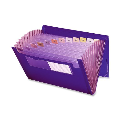 Smead Poly Expanding File, 12 Pockets, Flap and Cord Closure, Letter Size, Purple (70879)