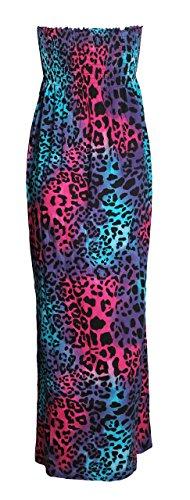 Fast Maxi Neon Kleid Leopard Azteken Tierleoparddruckscher Damen Tribal Fashion Boobtube r8EqTr