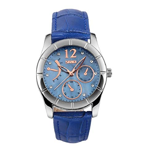(Women's Watch Fashion Quartz Analog Leather Strap Water Resistant Wrist Watches for Lady Girl - Blue)