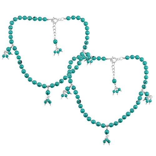 Silvestoo Jaipur Jewelry Women's 925 Sterling Silver Round Turquoise Anklet PG-133380