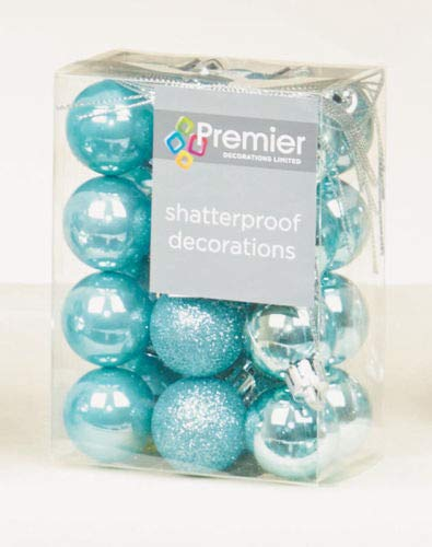 24 x Ice Blue shatterproof Christmas tree Baubles Decorations Mixed finishes by Premier Decorations 126187IB