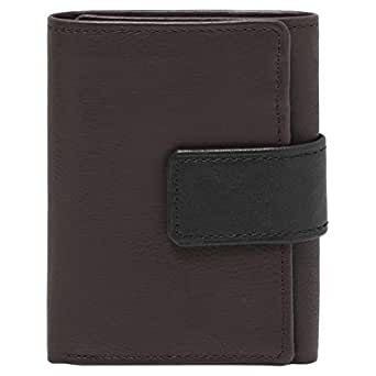 Zury M008 Button Loop 3 Folds Wallet for Men - Leather, Brown