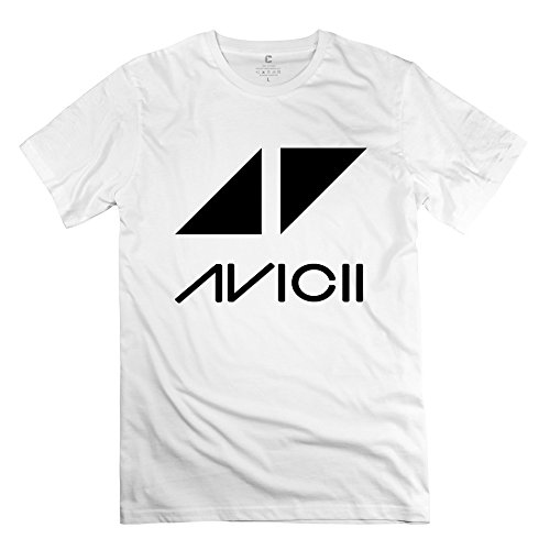 TASY Men's Avicii Performanc Logo 100% Cotton T-shirt - XXL White