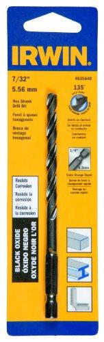 Irwin Tools 4935640 Black Oxide Hex Shank Drill Bit, 7/32-In