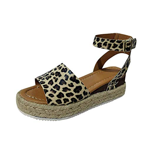 Womens Platform Sandals Peep Toe Ankle Strap Cut Out Espadrilles Shoes Leopard Rivet Beach Sandals B Leopard 10