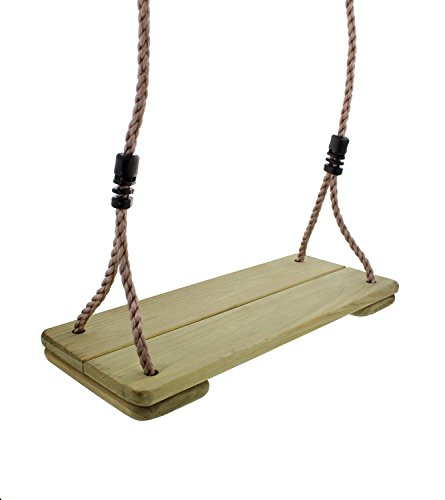 Get Out! Wooden Swing with 79' Inch Nylon Adjustable Rope for Hanging on Frame or Tree