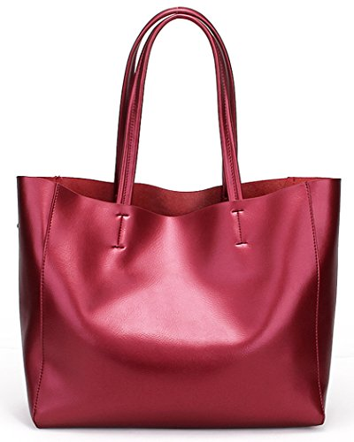 Tote Wine Ladies Handbags Genuine Soft Bag Fit Red Leather in SQLP Bags Bags 14 Laptop Shoulder Silver Fashion Handle Women and Purses 2017 wqC4nf