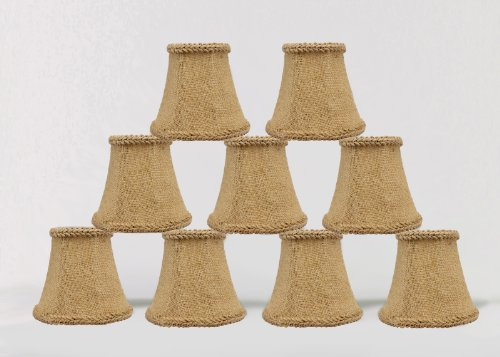 Urbanest 1100459d Chandelier Mini Lamp Shades 5-inch, Bell, Clip On, Burlap (Set of 9) - French Country Chandelier Shades