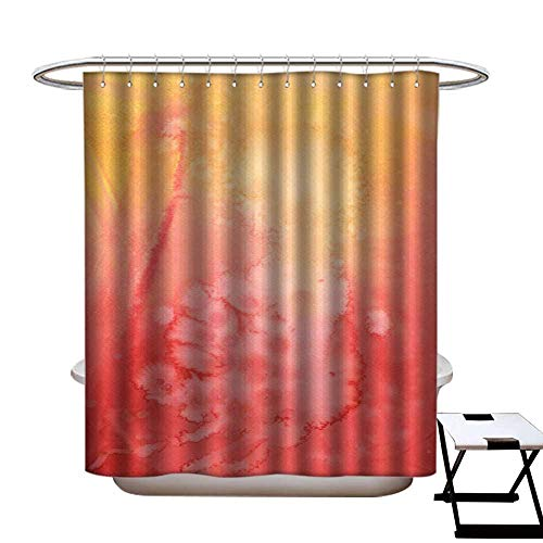 warmfamily Floral Shower Curtain Watercolor Plastic Wrap Shower CurtainW72 x L72 -