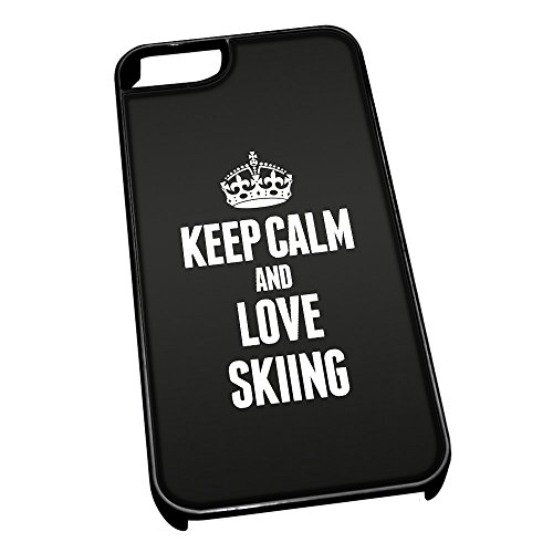 Nero cover per iPhone 5/5S 1895 nero Keep Calm and Love Skiing