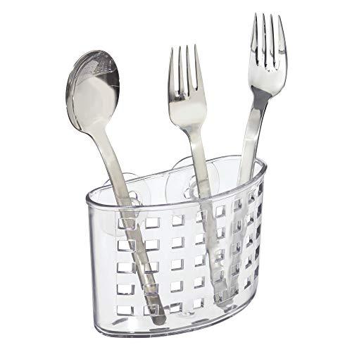 "InterDesign Plastic Kitchen Sink Suction Holder, Container for Silverware, Flatware, Cutlery, Spatulas, Sponges, 5.5"" x 3.75"" x 2.25"", Clear"