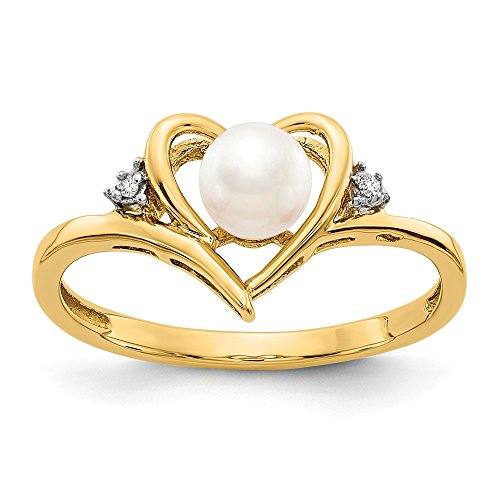 (Jewels By Lux 14K Yellow Gold Diamond & FW Cultured Pearl Ring)