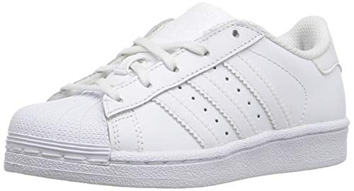 adidas Originals Kid's Superstar Sneaker, Core White, 11K (Womens Addidas Tennis Shoe)