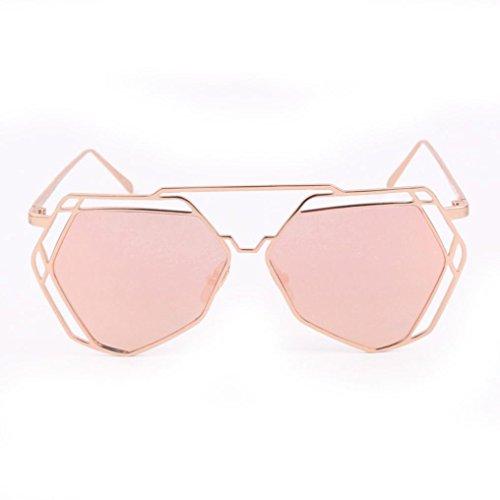 Kanzd Fashion Retro Twin-Beams Geometry Design Women Metal Frame Mirror Sunglasses Cat Eye Glasses - Eye Design Frame