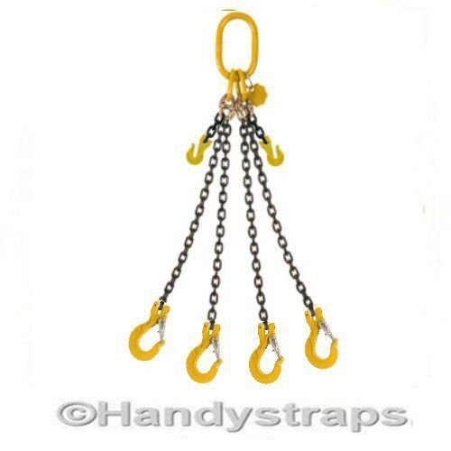 2m x 4 Leg 7mm Lifting Chain Sling 3.15 ton with Shortners Rated by HandyStraps ® Handy Straps