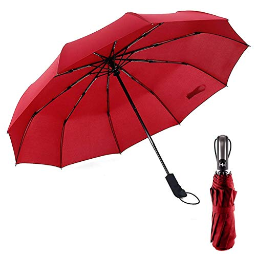 (RChoice Compact Travel Umbrella - Windproof, Reinforced, Auto Open/Close, Lightweight, Strong, Fold,10 Ribs, Portable)