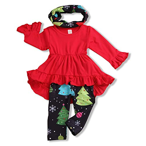 (Toddler Baby Girl Ruffle Sleeve Dress + Christmas Tree Pants + Headband 3Pcs Clothes Outfit (Red, 130/4-5 Years))