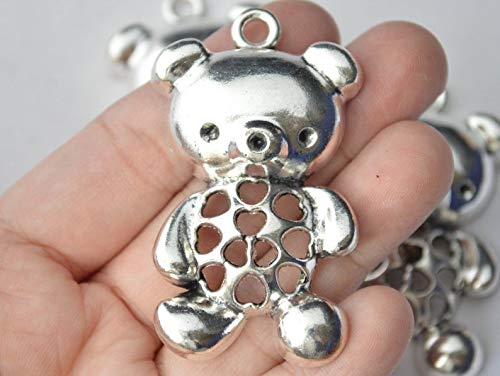 (pakuda 1 Piece Large Teddy Bear Pendant Antique Silver Tone 56x32mm - YD1517)
