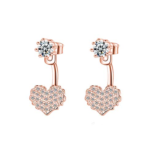 LALANG Simple Heart Shaped Crystal Zircon Rear Hanging Earring for Girls Gift(Rose Golden)
