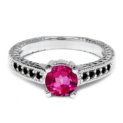 1.17 Ct Round Pink Mystic Topaz Black Diamond 925 Silver Engagement Ring
