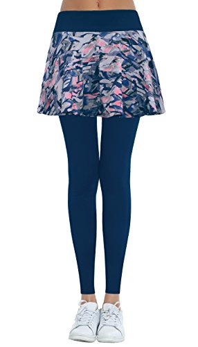Cityoung Women's Yoga Capris Pants Flare Skirt With Full Length Leggings Printed Navy S